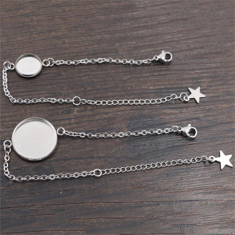 Stainless Steel Bracelet Chain Round Cabochon Blank Base Settings Wholesale (2pcs)