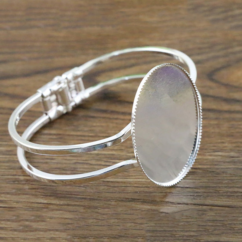 Bracelet Bangle Oval Cabochon Blank Base Settings Inner Size 30x40mm (1 piece)