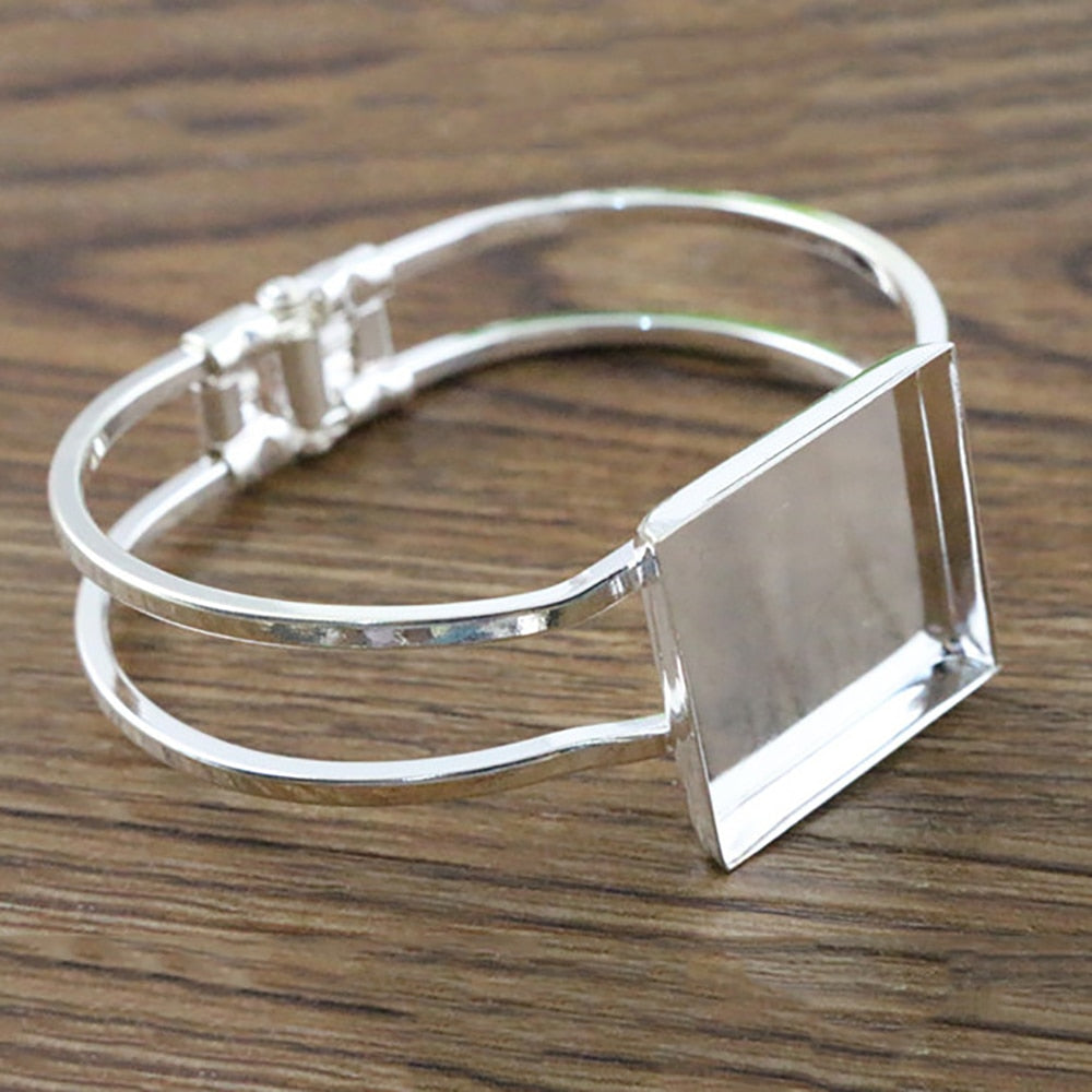 Bracelet Bangle Square Cabochon Blank Base Settings Inner Size 25mm (1 piece)