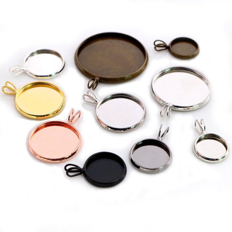 Pendant Round Cabochon Blank Base Setting Simple Style Inner Size 10mm / 12mm / 14mm / 16mm / 18mm / 20mm / 25mm Wholesale