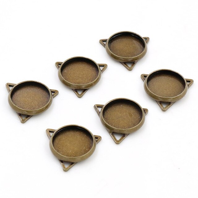 Pendant Round Cabochon Blank Base Setting Three Loops Simle Style Inner Size 12mm Wholesale (20pcs)