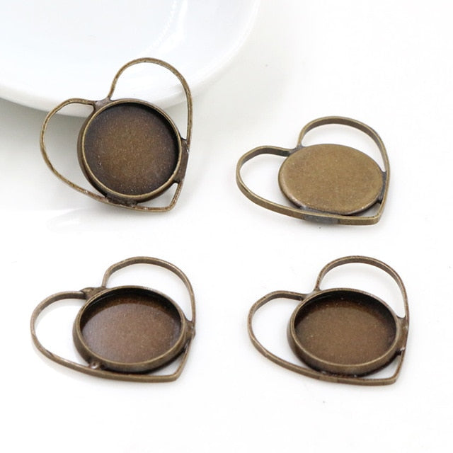 Pendant Round Cabochon Blank Base Setting Heart Inner Size 12mm Wholesale (20pcs)