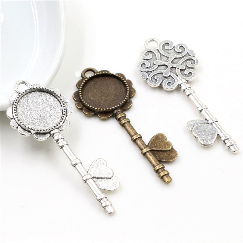 Pendant Round Cabochon Blank Base Setting Key Vintage Style Inner Size 14mm Wholesale (10pcs)