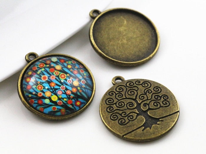 Pendant Round Cabochon Blank Base Setting Tree Of Life Inner Size 20mm Wholesale (10pcs)