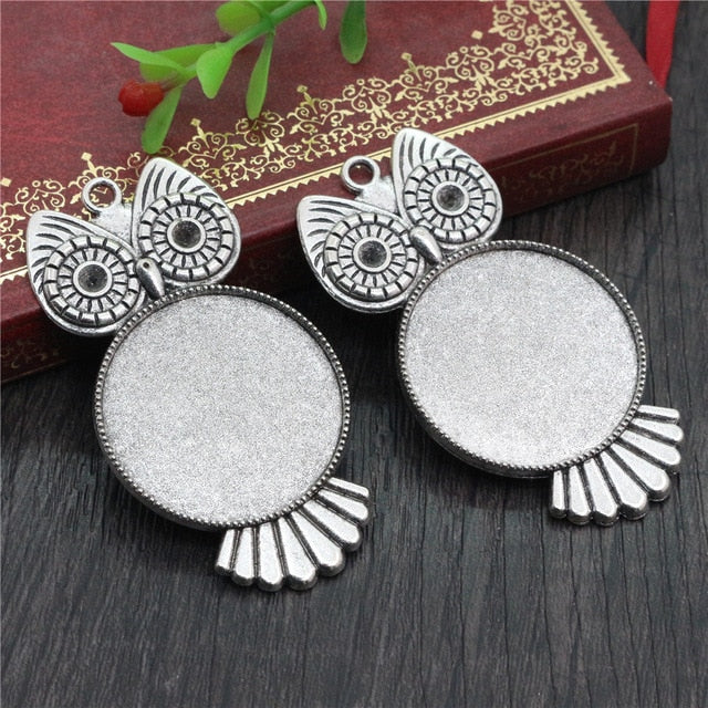 Pendant Round Cabochon Blank Base Setting Owl Inner Size 30mm Wholesale (5pcs)