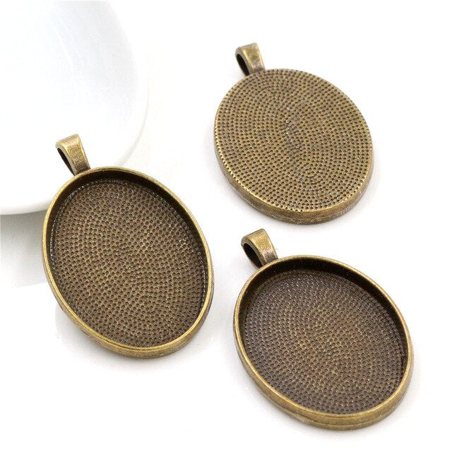 Pendant Oval Cabochon Blank Base Setting Simple Style Inner Size 22x30mm Wholesale (10pcs)
