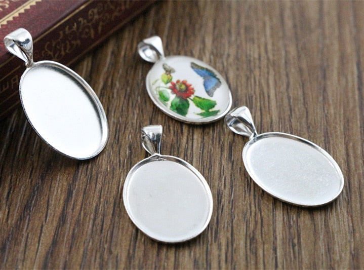 Pendant Oval Cabochon Blank Base Setting Simple Style Inner Size 13x18mm Wholesale (10pcs)