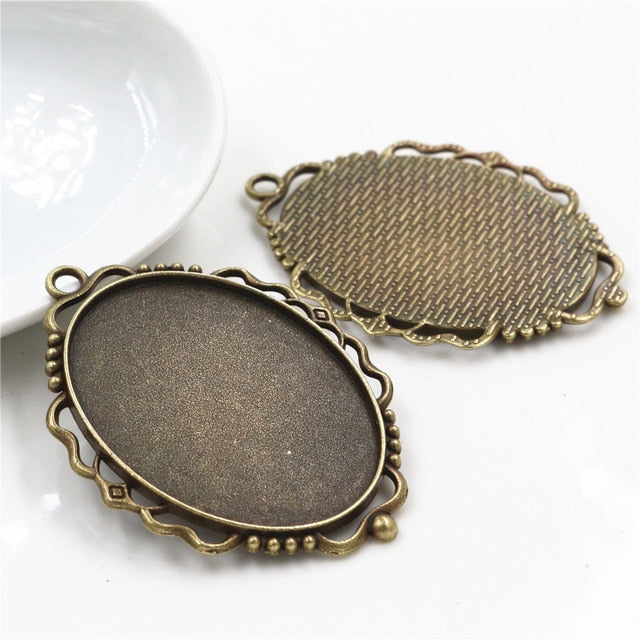Pendant Oval Cabochon Blank Base Setting Vintage Style Inner Size 30x40mm Wholesale (5pcs)