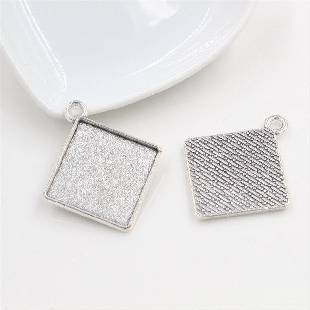 Pendant Square Cabochon Blank Base Setting Simple Style Inner Size 20mm Wholesale (10pcs)