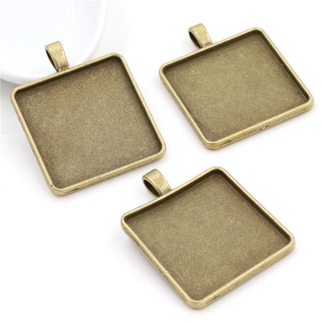 Pendant Square Cabochon Blank Base Setting Simple Style Inner Size 25mm / 30mm Wholesale (5pcs)