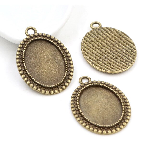 Pendant Oval Cabochon Blank Base Setting Vintage Style Inner Size 18x25mm Wholesale (10pcs)