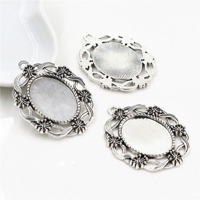 Pendant Oval Cabochon Blank Base Setting Vintage Style Inner Size 18x25mm Wholesale (5pcs)