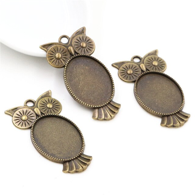 Pendant Oval Cabochon Blank Base Setting Owl Inner Size 18x25mm Wholesale (5pcs)