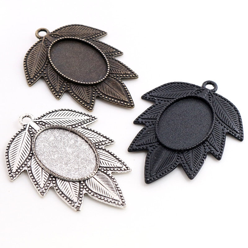 Pendant Oval Cabochon Blank Base Setting Leaf Vintage Style Inner Size 18x25mm Wholesale (5pcs)