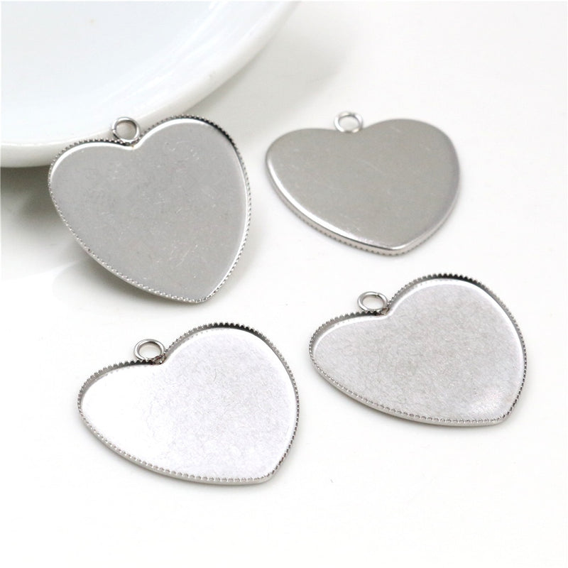 Stainless Steel Pendant Heart Cabochon Blank Base Setting Simple Style Inner Size 25mm Wholesale (10pcs)