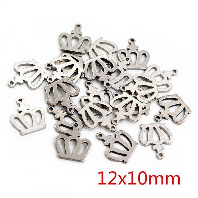 Stainless Steel Crown Charms, 12x10mm, Wholesale (30pcs)