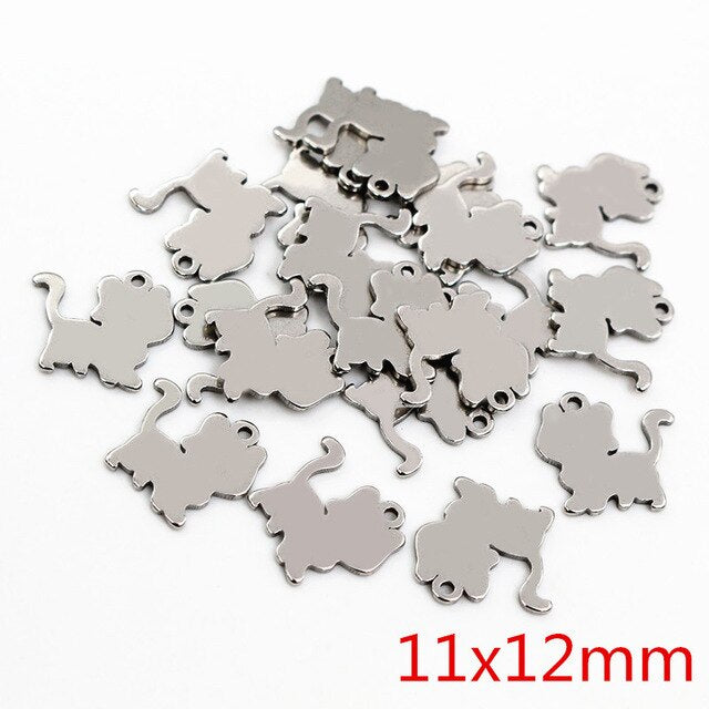 Stainless Steel Cat Charms, 11x12mm, Wholesale (30pcs)