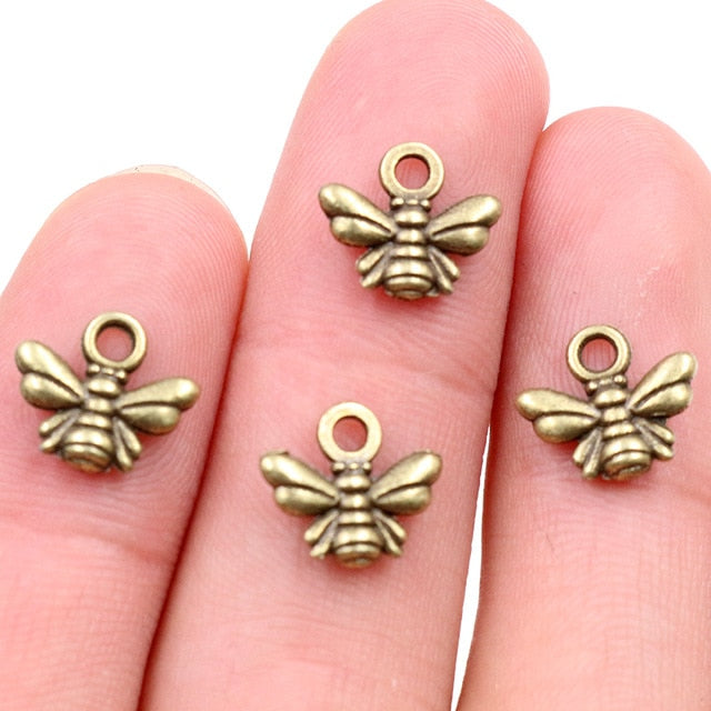 Bee Metal Charms, 10x11mm, Wholesale (30pcs)