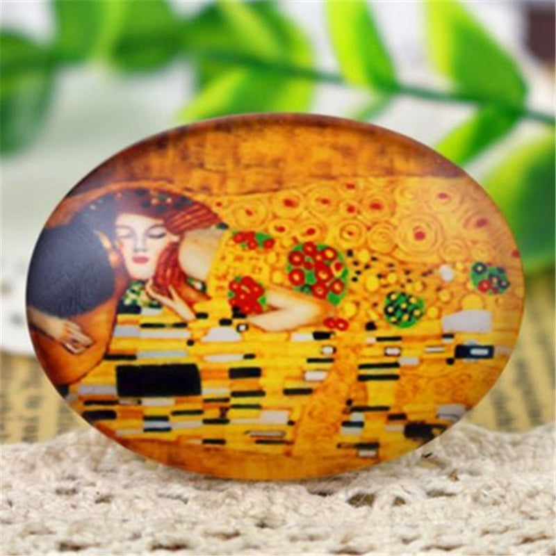Oval Flat Back Photo Glass Cabochons 30x40mm, High Quality, Wholesale (2pcs)