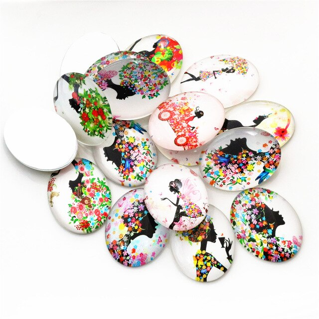 Oval Flat Back Photo Glass Mixed Cabochons 30x40mm, High Quality, Wholesale (5pcs)