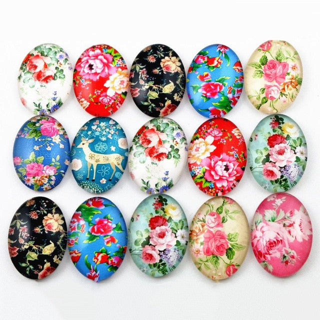 Oval Flat Back Photo Glass Mixed Cabochons 18x25mm, High Quality, Wholesale (10pcs)