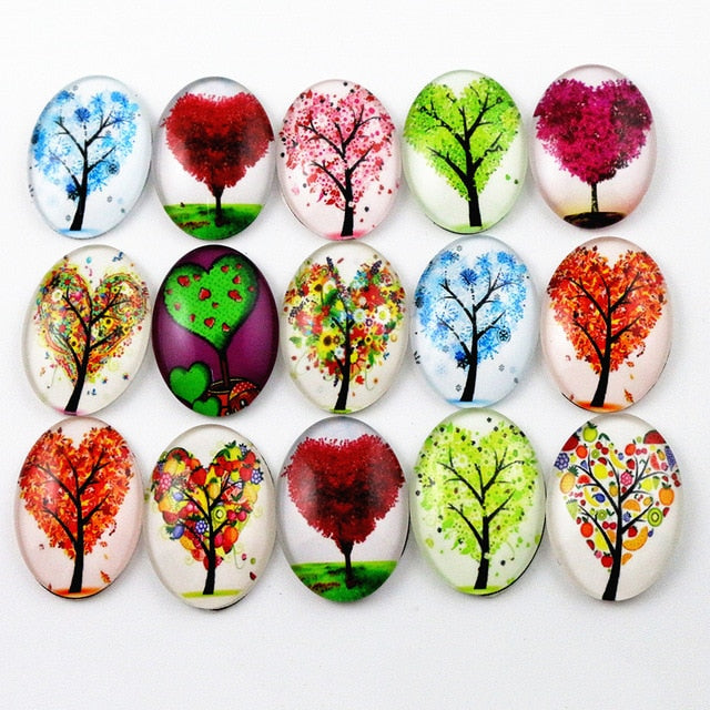 Oval Flat Back Photo Glass Mixed Cabochons 18x25mm, Tree Of Life, High Quality, Wholesale (10pcs)