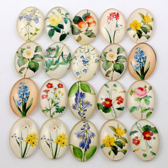 Oval Flat Back Photo Glass Mixed Cabochons 18x25mm, Flowers, High Quality, Wholesale (10pcs)