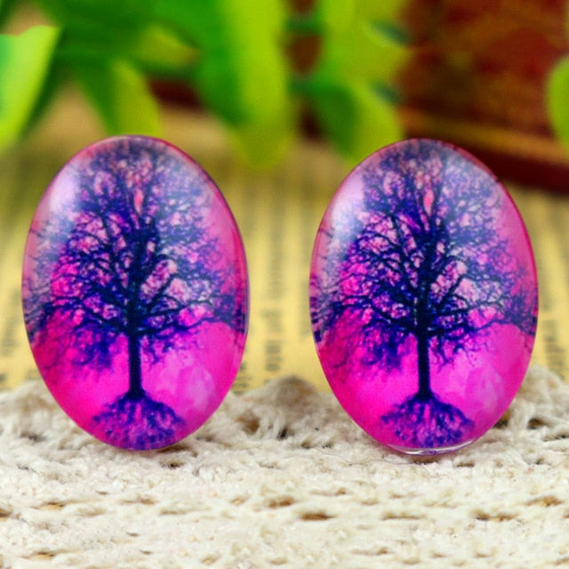 Oval Flat Back Photo Glass Cabochons 18x25mm, Tree Of Life, High Quality, Wholesale (10pcs)