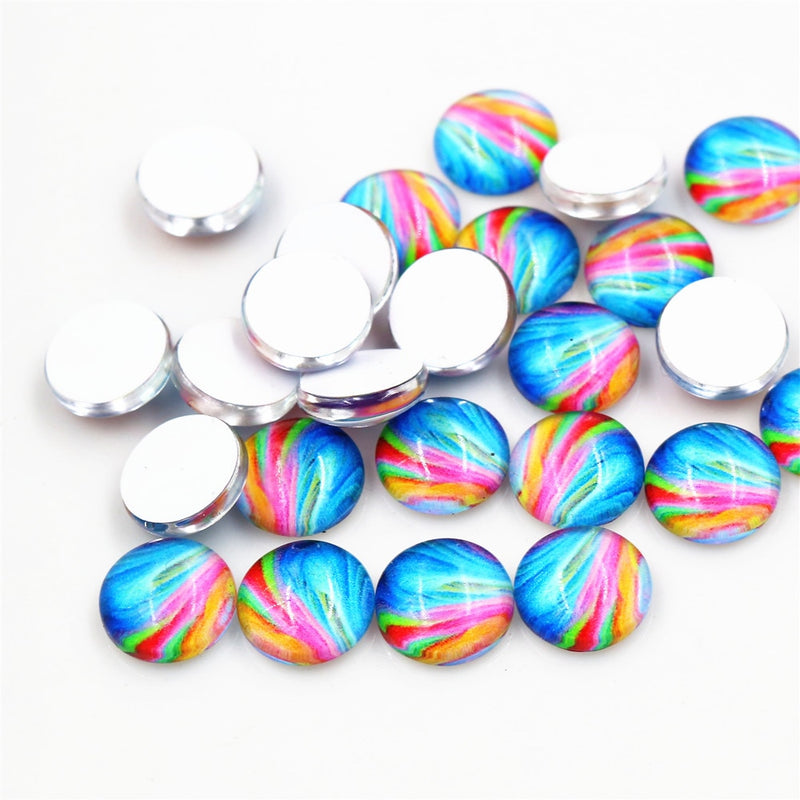 Round Flat Back Photo Glass Cabochons 8mm / 10mm, High Quality, Wholesale (50pcs)