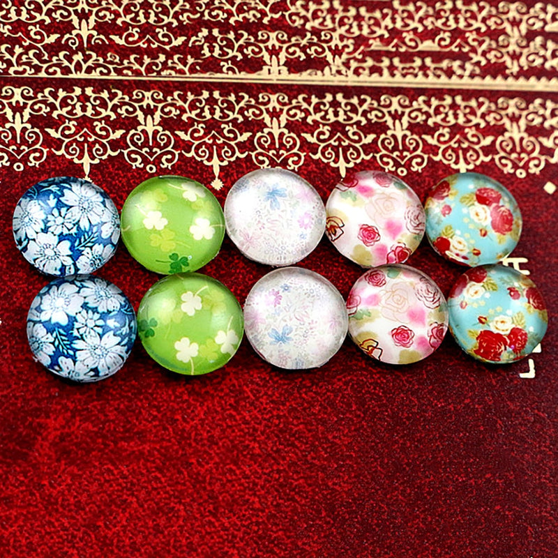 Round Flat Back Photo Glass Mixed Set Cabochons 12mm, Flowers, High Quality, Wholesale (10pcs)