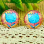 Round Flat Back Photo Glass Cabochons 20mm, Flowers, High Quality, Wholesale (10pcs)
