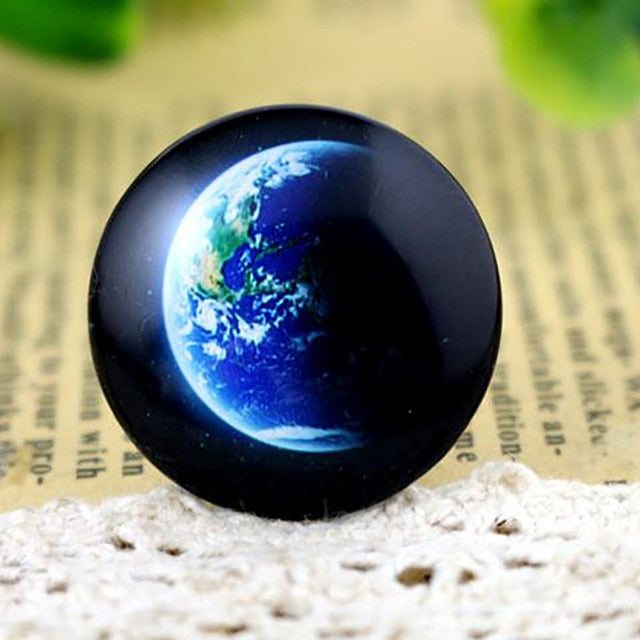 Round Flat Back Photo Glass Cabochons 25mm / 30mm, Earth, High Quality, Wholesale (5pcs)