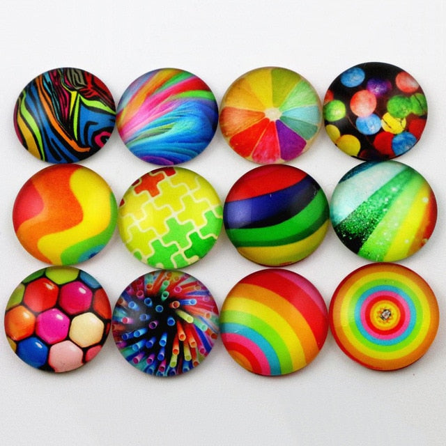 Round Flat Back Photo Glass Mixed Cabochons 20mm, High Quality, Wholesale (10pcs)