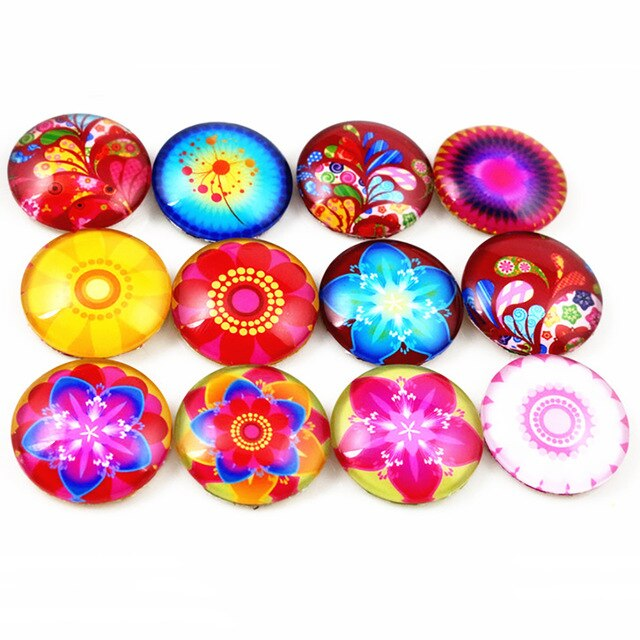 Round Flat Back Photo Glass Mixed Cabochons 20mm, Flowers, High Quality, Wholesale (10pcs)