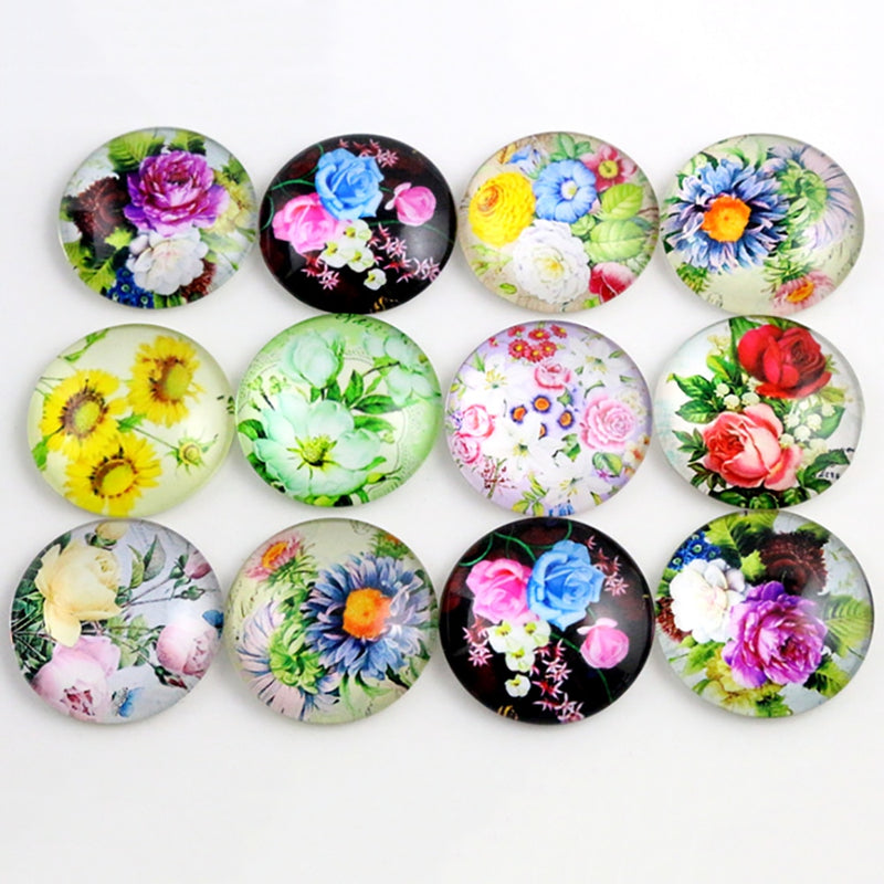 Round Flat Back Photo Glass Mixed Cabochons 20mm / 25mm, Flowers, High Quality, Wholesale (10pcs)