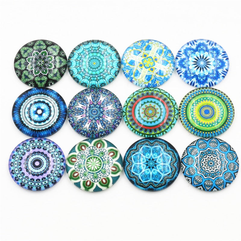Round Flat Back Photo Glass Mixed Cabochons 20mm / 25mm, High Quality, Wholesale (10pcs)