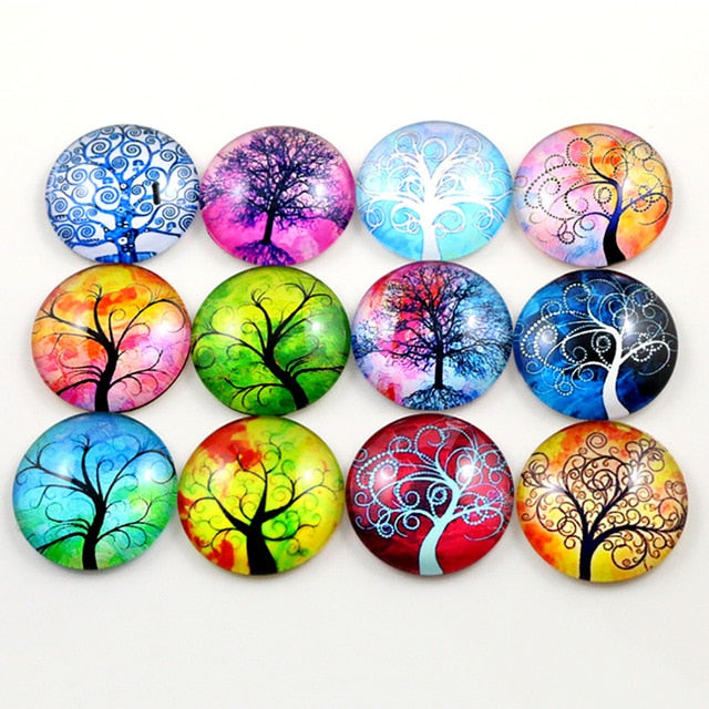 Round Flat Back Photo Glass Mixed Cabochons 25mm, Tree Of Life, High Quality, Wholesale (10pcs)