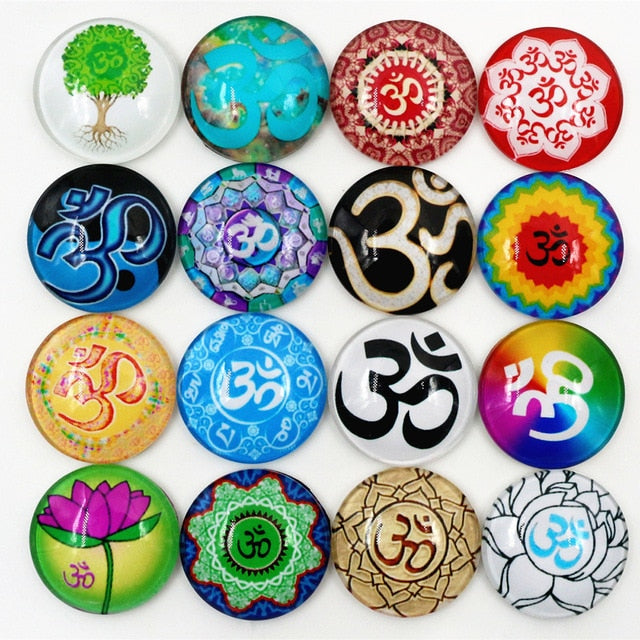 Round Flat Back Photo Glass Mixed Cabochons 25mm, Om Symbol, High Quality, Wholesale (10pcs)