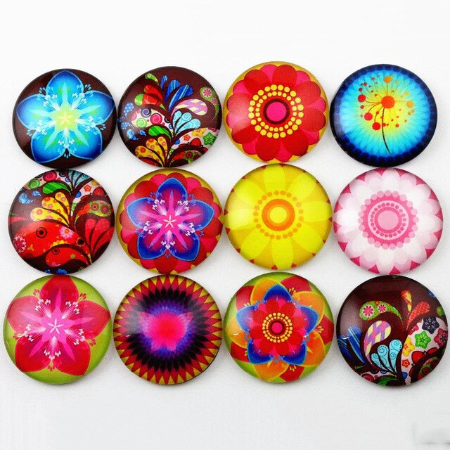 Round Flat Back Photo Glass Mixed Cabochons 25mm, Flowers, High Quality, Wholesale (10pcs)