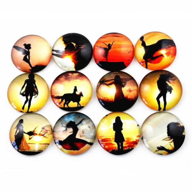 Round Flat Back Photo Glass Mixed Cabochons 25mm, High Quality, Wholesale (10pcs)