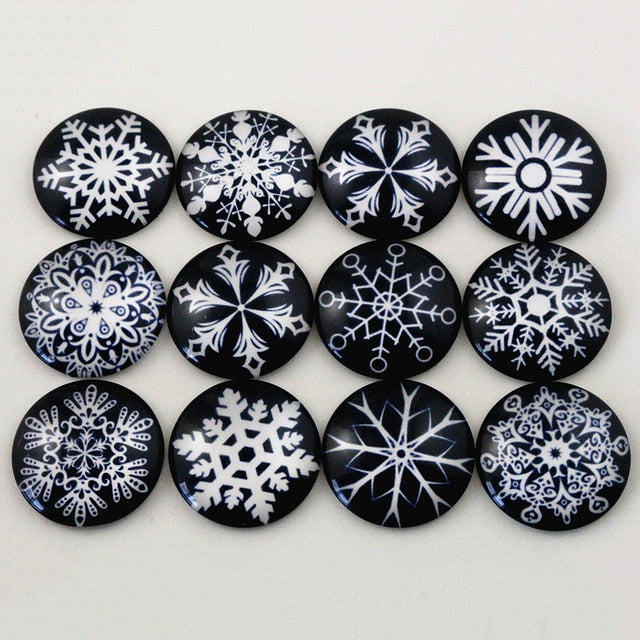 Round Flat Back Photo Glass Mixed Cabochons 25mm, Snoflakes, High Quality, Wholesale (10pcs)