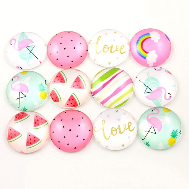 Round Flat Back Photo Glass Mixed Cabochons 25mm, Flamingo, High Quality, Wholesale (10pcs)