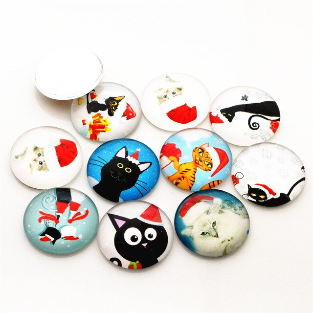 Round Flat Back Photo Glass Mixed Cabochons 25mm, Christmas Cats, High Quality, Wholesale (10pcs)