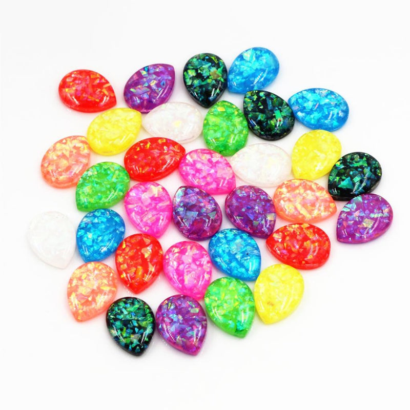 Drop Flat Back Resin Cabochons 10x14mm, 13x18mm, Mixed Colors, Built-in metal foil, Wholesale (40pcs)