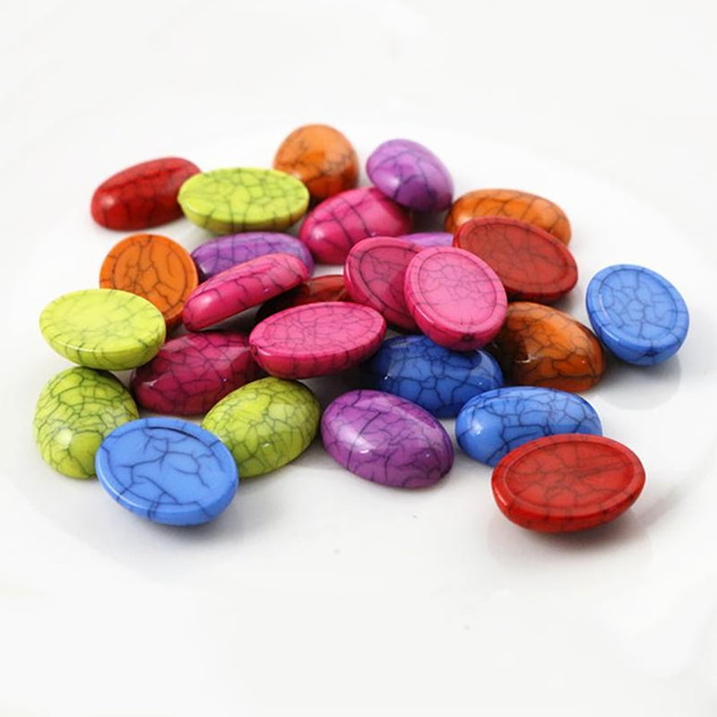 Oval Flat Back Resin Cabochons 13x18mm, Mixed Colors, Wholesale (40pcs)