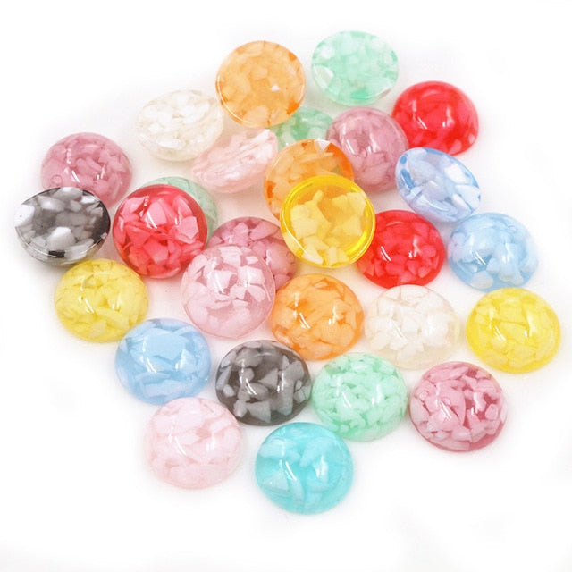 Round Flat Back Resin Cabochons 12mm, Built-in Natural Shells, Wholesale (40pcs)