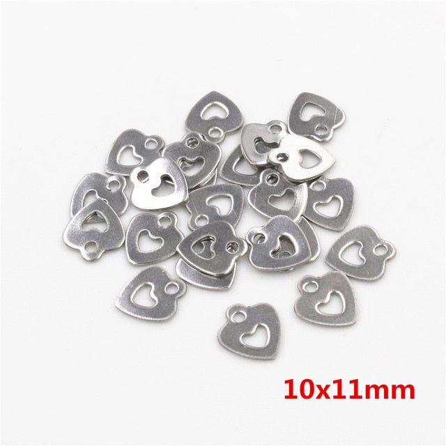 Stainless Steel Heart Charms, 10x11mm, Wholesale (50pcs)