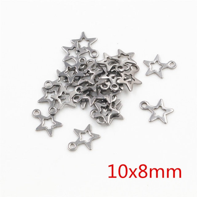 Stainless Steel Star Charms, 10x8mm, Wholesale (30pcs)