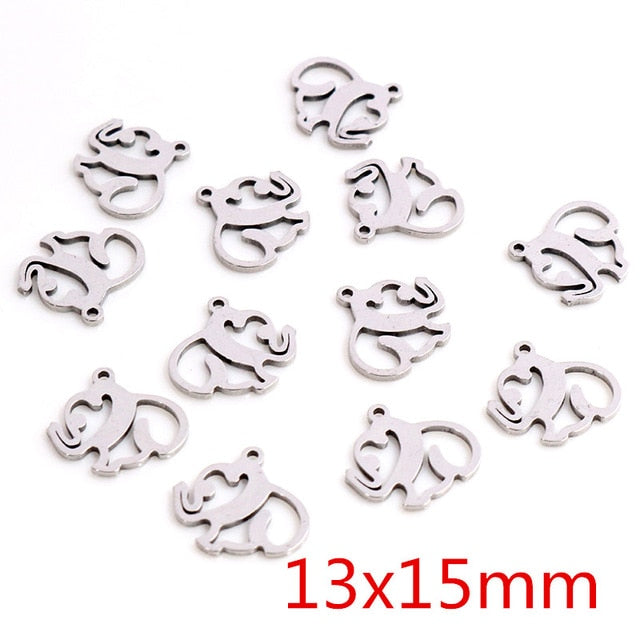 Stainless Steel Elephant Charms, 13x15mm, Wholesale (30pcs)