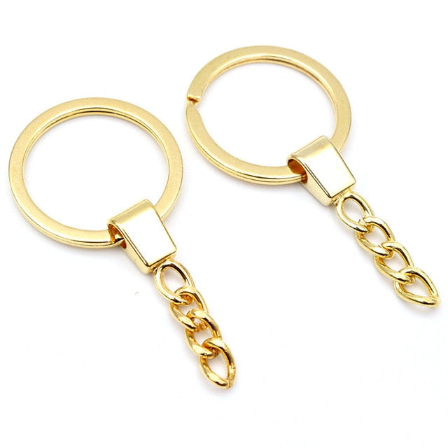 Keyrings With Chain For Keychain, Split Ring 30mm, Wholesale (10pcs)